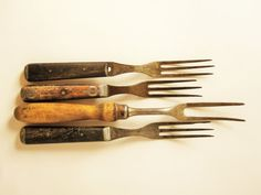 Vintage Serving Utensils - Beautifully Crafted Steel and Wood -  Four Long Tined Forks - Large Primitives - Country Kitchen - Camping