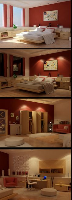 Gorgeous bedroom design with red color... | Visit : roohome.com  #bed #bedroom #design #decoration #elegant #amazing #awesome #great #gorgeous #fabulous #interior #creative