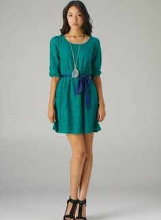 Green Lace Dress with Tie Waist and 3/4 Sleeves,  Dress, lace dress  tie waist, Casual