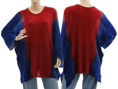 Artsy boho knitted wide shaped sweater / soft wool hand dyed in cobalt blue red / lagenlook for plus size, L-XL/XXL - US size 16-20/22