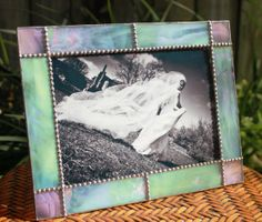 Iridized Pink Green Stained Glass Picture Frame by TanzoDesigns, $45.00