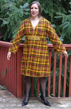Fall Plaid Coat Bonnie Cashin Sills Brass Turn Lock Toggles Leather Trim Retro 60s Mod Fall Colors