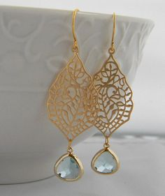 Aquamarine Bruiloft Oorbellen-Gold Drop Oorbellen Dangle-Cocktail
