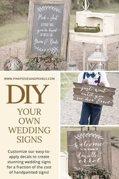 Wedding Wood Welcome Sign- Forget pricy wedding signage! These gorgeous decals will turn up the elegance notch on your big event for a fraction of the cost of handpainted signs. Pick out a piece of wood, sand and stain, and then apply one of our custom de Rustic Wedding Signs, Wedding Welcome Signs, Chalkboard Wedding, Wedding Signage, Woodland Wedding, Forest Wedding, Wedding Budget Spreadsheet, Budget Wedding, Wedding Tips