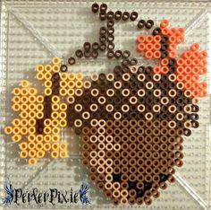 Acorn perler beads by PerlerPixie Perler Bead Designs, Hama Beads Design, Diy Perler Beads, Perler Bead Art, Pearler Bead Patterns, Perler Patterns, Minecraft Pattern, Halloween Beads, Peler Beads