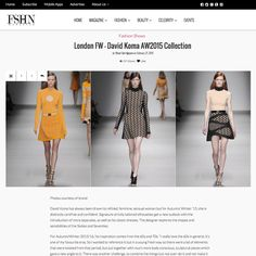 """Malone Souliers in FSHN Magazine  London FW – David Koma AW2015 Collection  """"David Koma has always been drawn to refined, feminine, sensual woman but for Autumn/Winter '15, she is distinctly carefree and confident. Signature strictly tailored silhouettes get a new outlook with the introduction of more separates, as well as his classic dresses. The designer explores the shapes and sensibilities of the Sixties and Seventies.  For Autumn/Winter 2015/16, his inspiration comes from the 60s and…"""