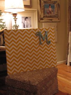 Really like the chevron pattern..magnet board with magnet letter.