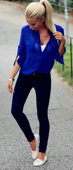 I have a shirt like this in green, but absolutely love how the bright dark blue looks with skinny jeans