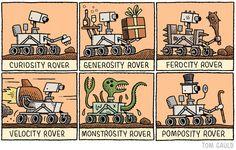 A recent cartoon for New Scientist. I want a pomposity rover.