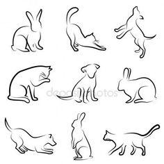 katzen gezeichnet | Hund, Katze, Kaninchen Tier zeichnen — Stockvektor ...
