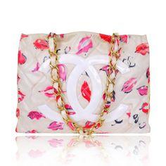 Vintage Chanel PVC Kiss Print Shopping Tote Bag - Rare