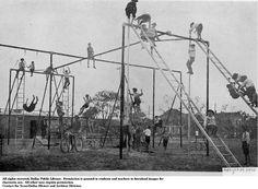 School playground equipment in the year 1900.