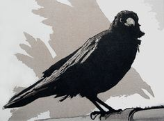Crow. Linocut, 5 of 10 remaining,  15 x 20 cms.  £30 unframed.Mike Smith printmaker UK