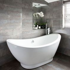 [ Bathroom Modern Slipper Bath Bathroom Decorating Ideal White Mosaic Tiled Bathroom Bathroom Decorating Ideal Home ] - Best Free Home Design Idea & Inspiration Gray Bathroom Decor, Family Bathroom, Grey Bathrooms, Bathroom Colors, Bath Decor, White Bathroom, Bathroom Ideas, Bathroom Furniture, Glitter Bathroom