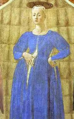 Piero della Francesca, Madonna del Parto, It is believed that Piero completed this fresco in 1460 after the death of his mother, who herself was born in Monterchi. It depicts a pregnant Madonna.