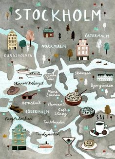 Stockholm Illustrated Map - Swedish Art Print - City Map Poster Scandi style illustrated map print of Stockholm, Sweden. The perfect poster / wall. Travel and map illustration Stockholm Map, Stockholm Restaurant, Stockholm Shopping, Restaurant Guide, Dubrovnik, Travel Maps, Places To Travel, Travel Europe, Voyage Suede