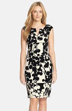 Adrianna Papell Floral Print Crepe Sheath Dress available at Stylish Dresses, Casual Dresses, Fashion Dresses, Dresses For Work, Embroidery Fashion, Groom Dress, Nordstrom Dresses, Dress Patterns, Sheath Dress