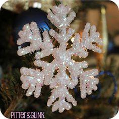Hot glue glittered snowflake ornament