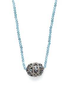 Dorie Love London Blue Topaz Bead & Diamond Station Necklace