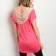 Preorder! Coming soon Bright Pink fitted lace top blouse with flutter sleeves! Tops