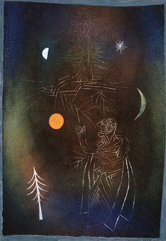 Paul Klee 'Gelehrter im Umgang mit Gestirnen'(Scholar of the movement of the Stars or Learned in the Constellations [my own attempt at translation g.s.) 1926 Tempera on paper 28 x 42 cm
