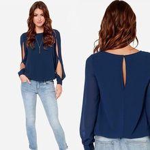 826fd18f5939e 2015 nova moda feminina camisas Casual manga comprida blusa de Chiffon roxo  sml XL XXL tamanho