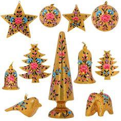 Golden Paper Mache Floral Ornaments Christmas Decor Set of 11 Items ShalinIndia