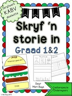 Leer jou kinders om 'n storie te skryf! Tien eenvoudige stories met prentjies om beginner-skrywers stap vir stap te leer hoe om 'n storie te skryf. Ingesluit is daar ook 'n visuele hulpmiddel (hamburger) om die dele van 'n storie of vertelling uiteen te sit.