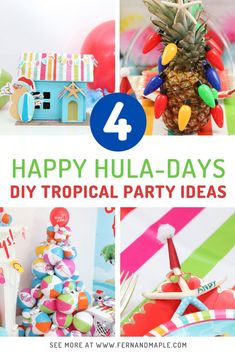 Enjoy warm beach vibes during the holidays, even in colder climates, by throwing an easy and fun DIY Tropical themed Christmas Party! Get all of the details on how to create all of the DIY decor now at fernandmaple.com!
