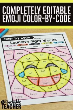 The perfect emoji activities for kids! YOU enter the skill you want students to practice. They color the emoji according to the color-by-code you made. This editable emoji resource is fun | emoji worksheets for kids | emoji printables templates | editable reading worksheet | printable reading activities | sight word activities | color by word printables