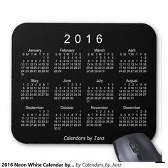 2016 Neon White Calendar by Janz Mouse Pad