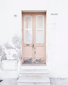 A Whitewashed House with blush pink door Light In, Architecture, Color Inspiration, Fashion Inspiration, Interior And Exterior, Facade, Around The Worlds, Windows, Modern