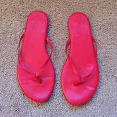 Red Old Navy Flip Flops Basically brand new! I think I wore them once. These are not the regular Old Navy flip flops! They are like a patent shiny material and are a little more dressy. Old Navy Shoes Sandals