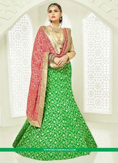 Buy Green Colour  A Line Style Lehenga Choli with Resham Work Online at begumriwaaz.com