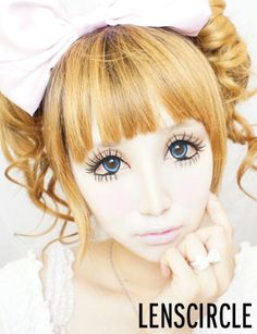 twirl blue circle lenses for doll makeup for halloween.. love it!