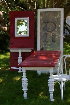 old doors repurposed into new furnishings - dining table and hall table