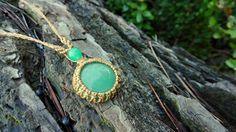 Collier tribal pierre d'aventurine et macramé marron clair : Collier par stonanka