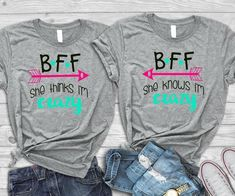 Crazy Bestfriend Shirts BFF Shirts Bestfriend Outfits BFF/Bestie Tees - Funny Sister Shirts - Ideas of Funny Sister Shirts - Bff Shirts, Meme Shirts, Funny Shirts, Quote Shirts, Bff Sweatshirts, Best Friend Matching Shirts, Best Friend T Shirts, Best Friend Outfits, Best Friend Clothes