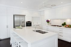 Palm Beach house - White kitchen - v similar to what we want for our new kitchen. Stools and island bench sides good design decorating before and after design ideas interior design Modern Kitchen Island, Modern Kitchen Design, New Kitchen, Kitchen Stools, Kitchen Ideas, Kitchen Redo, Kitchen Designs, Kitchen Interior, Palm Beach