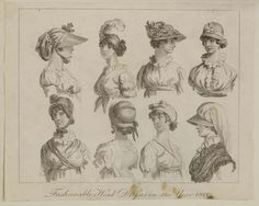Museum of London | ENGRAVING Fashionable Head Dresses in the Year 1800 Production Date: 1800 ID no: 2002.139/1149