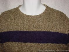 """Abercrombie & Fitch 70% Wool Beige & Purple Sweater  Size L Chest 42"""" Soft Free Shipping in USA  #abercrombie #menssweater #woolsweater"""
