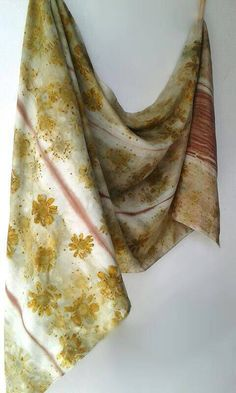 91 Yellow Daisies / Shawl / Large Scarf /   Eco Print / Eco Dye / Luxury Silk Scarf / Luxurious / Earth Friendly / OOAK / Hand Rolled Hems Jane Cohen - gorgeous