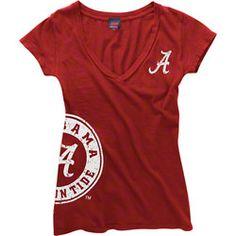 Alabama Crimson Tide Women's Crimson Cossett Mascot Deep V-Neck Tee  $21.99 http://www.fansedge.com/Alabama-Crimson-Tide-Womens-Crimson-Cossett-Mascot-Deep-V-Neck-Tee-_-1396629664_PD.html?social=pinterest_pfid52-10502
