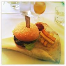 The T-Rex Burger at Boulcott Street Bistro in Wellington. Served on an actual slab of bone!