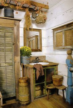 Old Prim Bath...shutter for the closet door & window for the vanity...love the ladder up above!