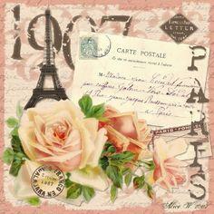Images for decoupage. Discussion on LiveInternet - Russian Service Online Diaries Vintage Paris, Vintage Roses, Decoupage Vintage, Vintage Crafts, Collage Vintage, Vintage Labels, Vintage Ephemera, Vintage Pictures, Vintage Images