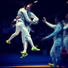 """Race Imboden - LifeKraze - """"Celebrating with my teammate after making the Final 4 #inspireLK"""" Olympics Fencing USA #livelikeitcounts"""