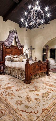 Old World, Mediterranean, Italian, Spanish & Tuscan Homes & Decor Tuscan Bedroom Decor, Tuscan Style Bedrooms, Home Decor Bedroom, Modern Bedroom, Master Bedrooms, Bedroom Ideas, Luxury Bedroom Design, Interior Design, World Decor