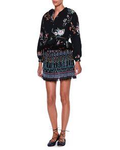 Long-Sleeve Reversible Peplum Jacket, Black/Multi, Women's, Size: 40 (6 US), Black Multi - Etro