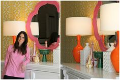 Wall paper, mirror and lamp combo.  LOVE.